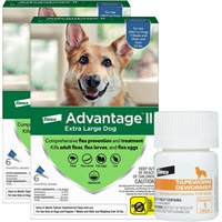 12 MONTH Advantage II Flea Control for Extra Large Dogs Over 55 lbs  Tapeworm Dewormer for Dogs 5 Tablets