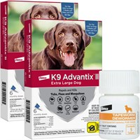 12 MONTH K9 Advantix II BLUE for Extra Large Dogs over 55 lbs  Tapeworm Dewormer for Dogs 5 Tablets
