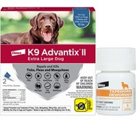 2 MONTH K9 Advantix II BLUE for Extra Large Dogs over 55 lbs  Tapeworm Dewormer for Dogs 5 Tablets