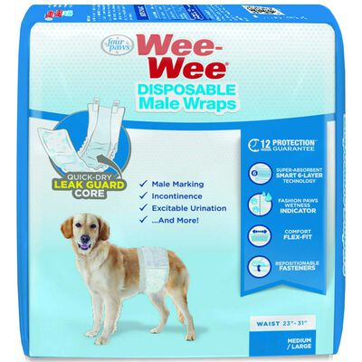 Wee-Wee Disposable Male Wraps Medium/Large 12 pk