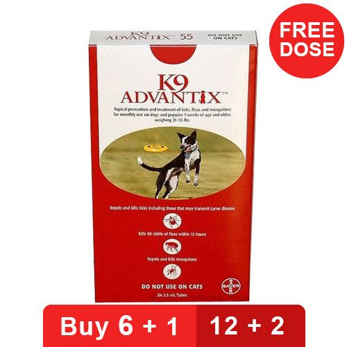 K9 Advantix Large Dogs 21-55 Lbs Red 12 + 2 Doses Free