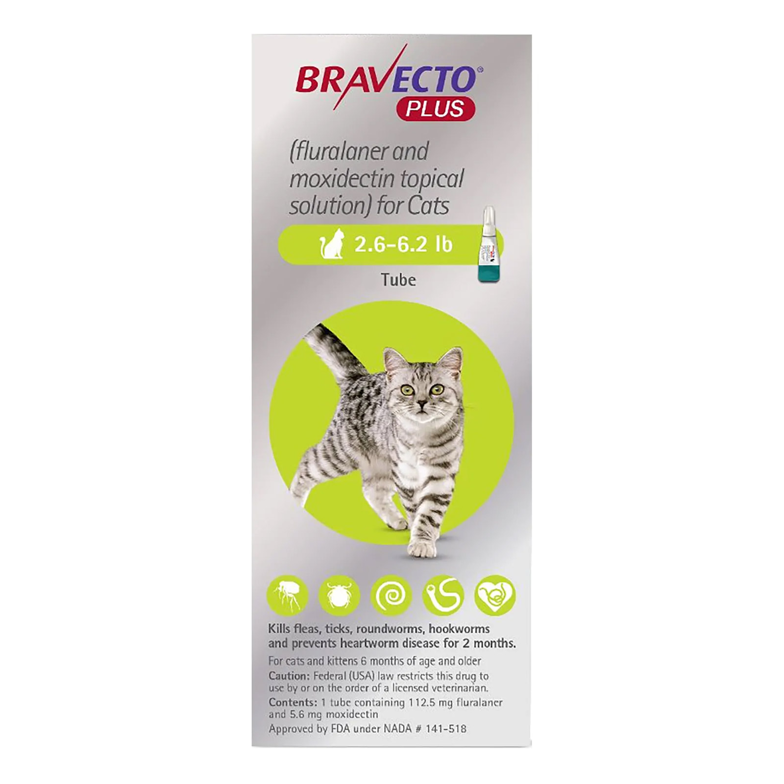 Bravecto Plus For Small Cats 2.6 To 6.2 Lbs Green 3 Doses