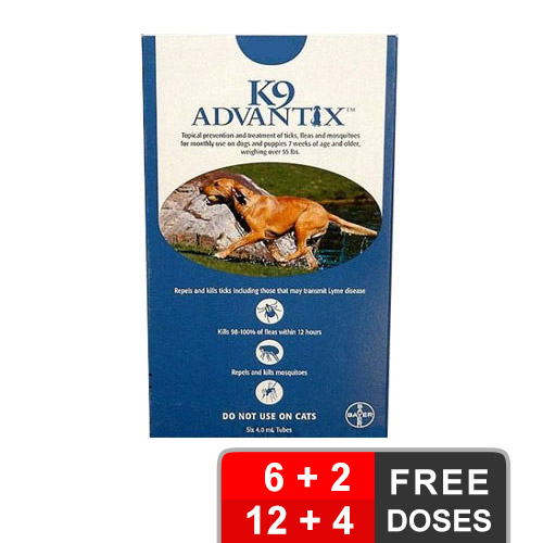 K9 Advantix Extra Large Dogs Over 55 Lbs Blue 12 + 4 Free