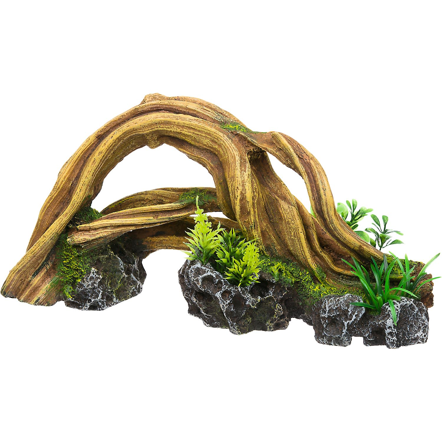RockGarden Resin Wood Arch with Plants, 1.8 LBS, Brown / Green