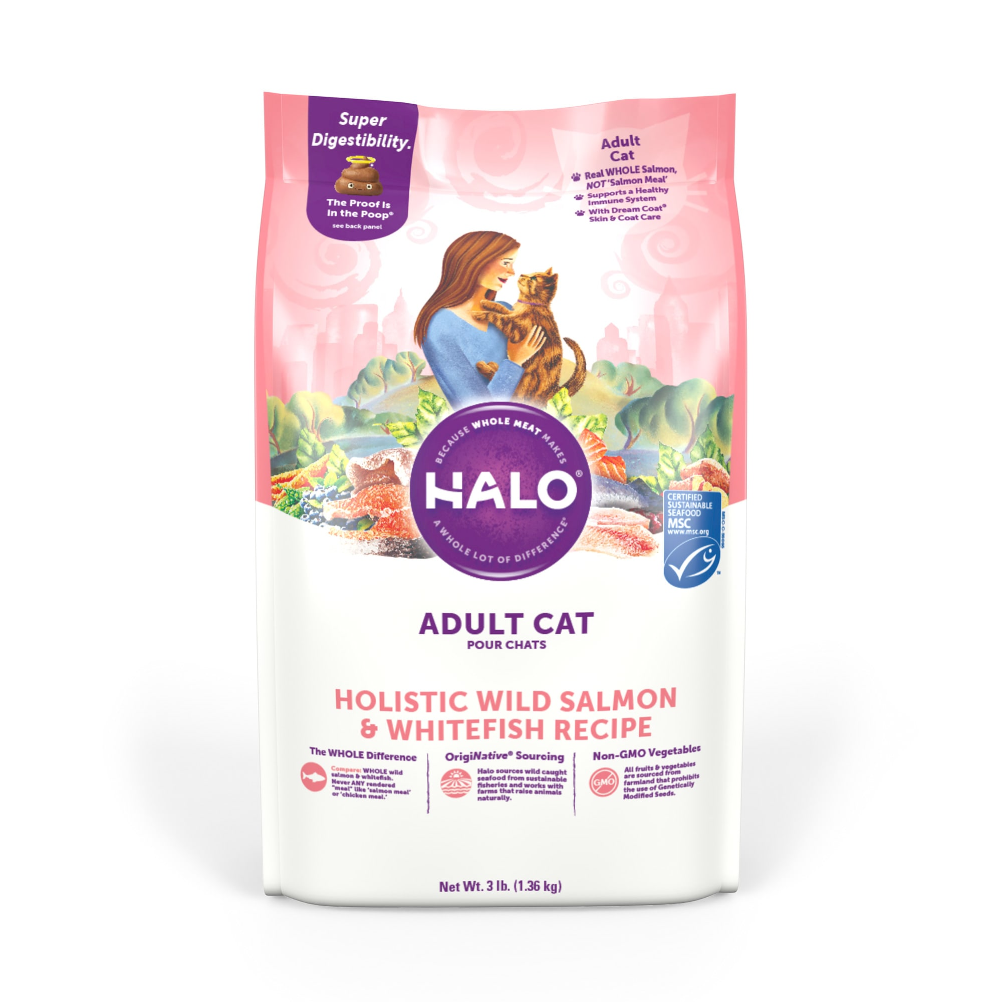 Halo Adult Holistic Wild Salmon & Whitefish Dry Cat Food