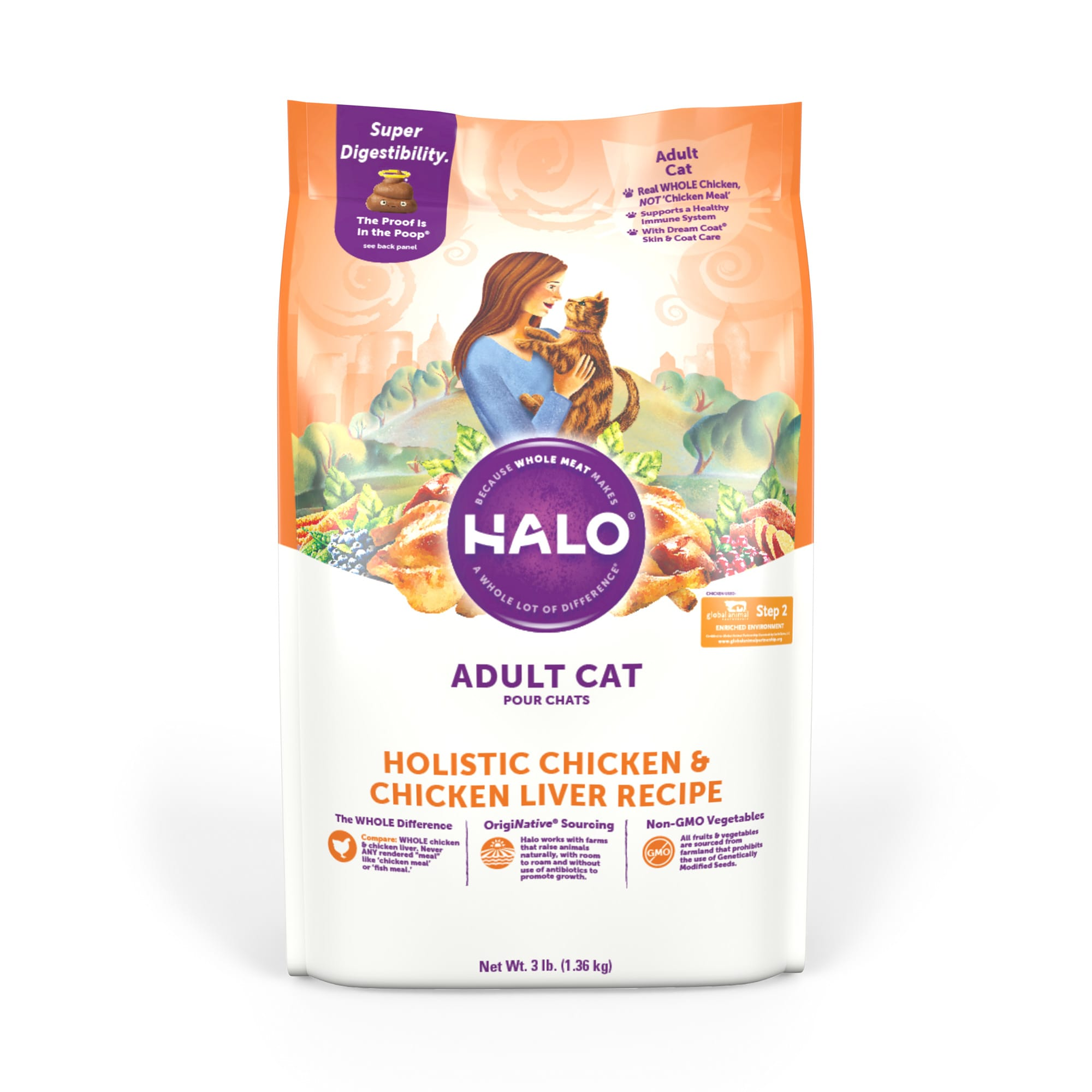 Halo Adult Holistic Chicken & Chicken Liver Dry Cat Food, 3 lbs