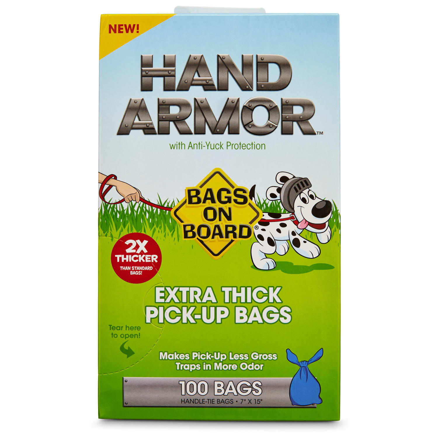 Bags on Board Hand Armor Extra Thick Dog Waste Pick-Up Bags, 100 count, 7 IN
