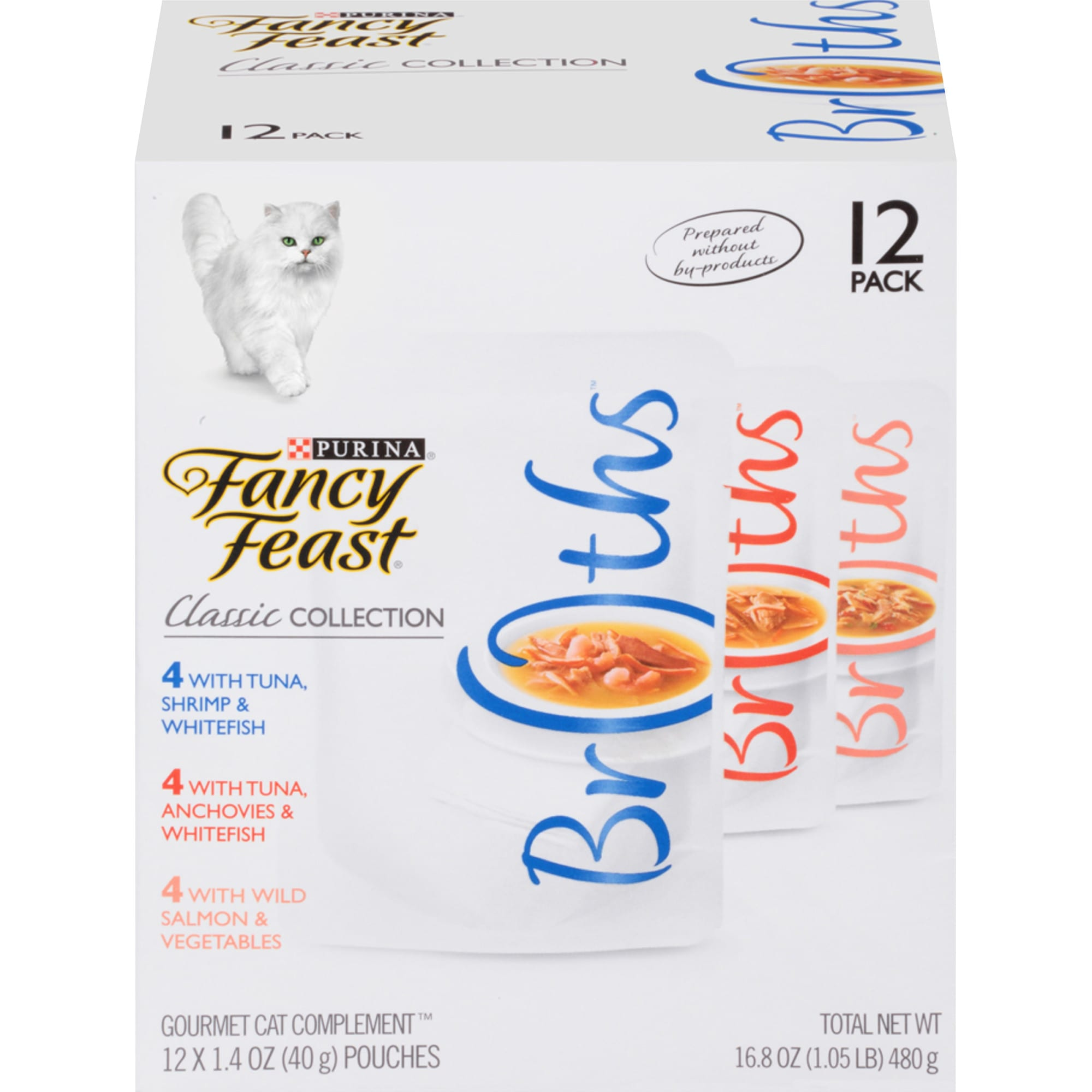 Fancy Feast Broths Classic Collection Wet Cat Food Complement Variety Pack