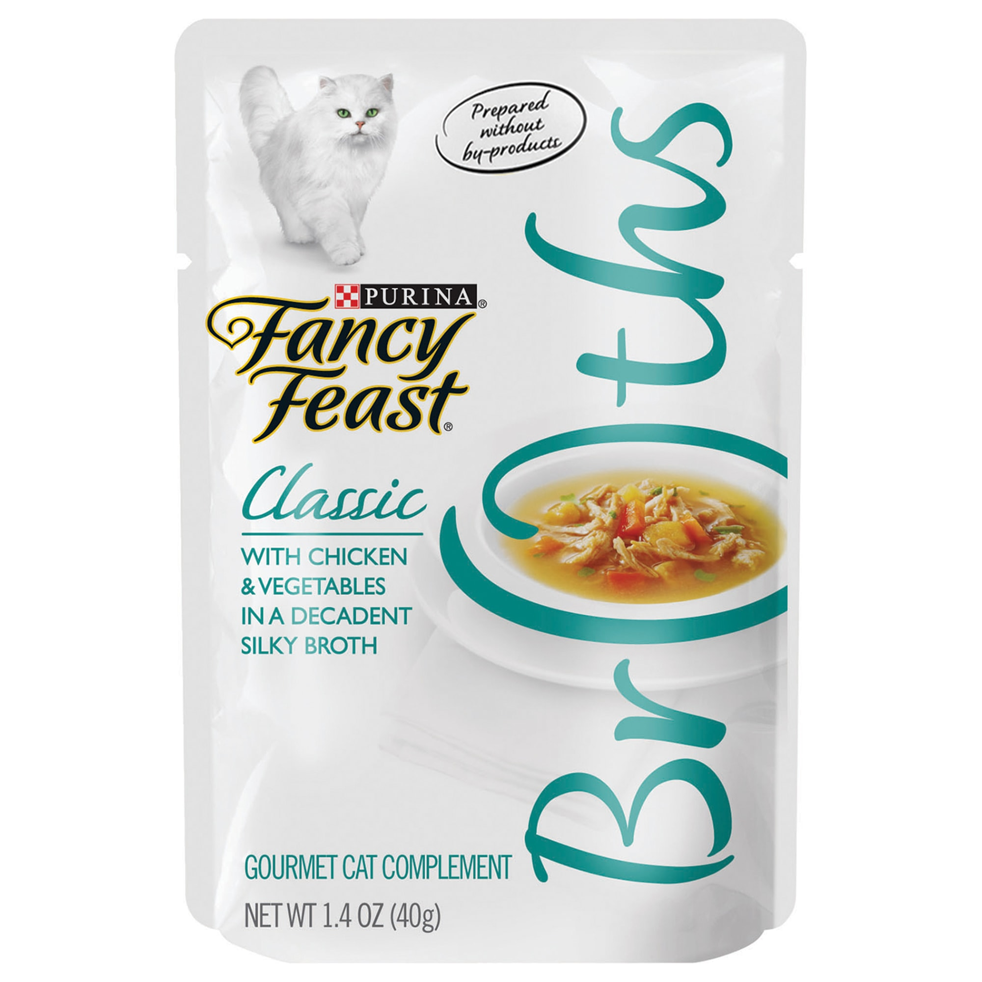 Fancy Feast Broths Classic Chicken & Vegetables Cat Food Complement, 1.4 oz., Case of 16, 16 X 1.4 OZ