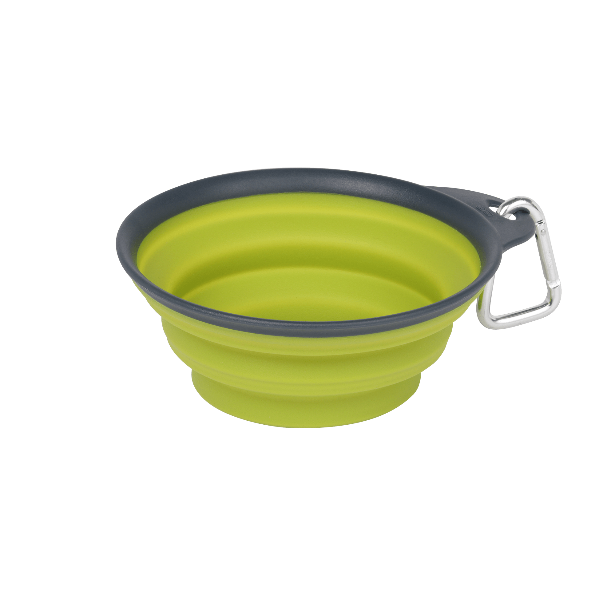 Dexas Collapsible Travel Cup with Carabiner, Small, Green / Grey