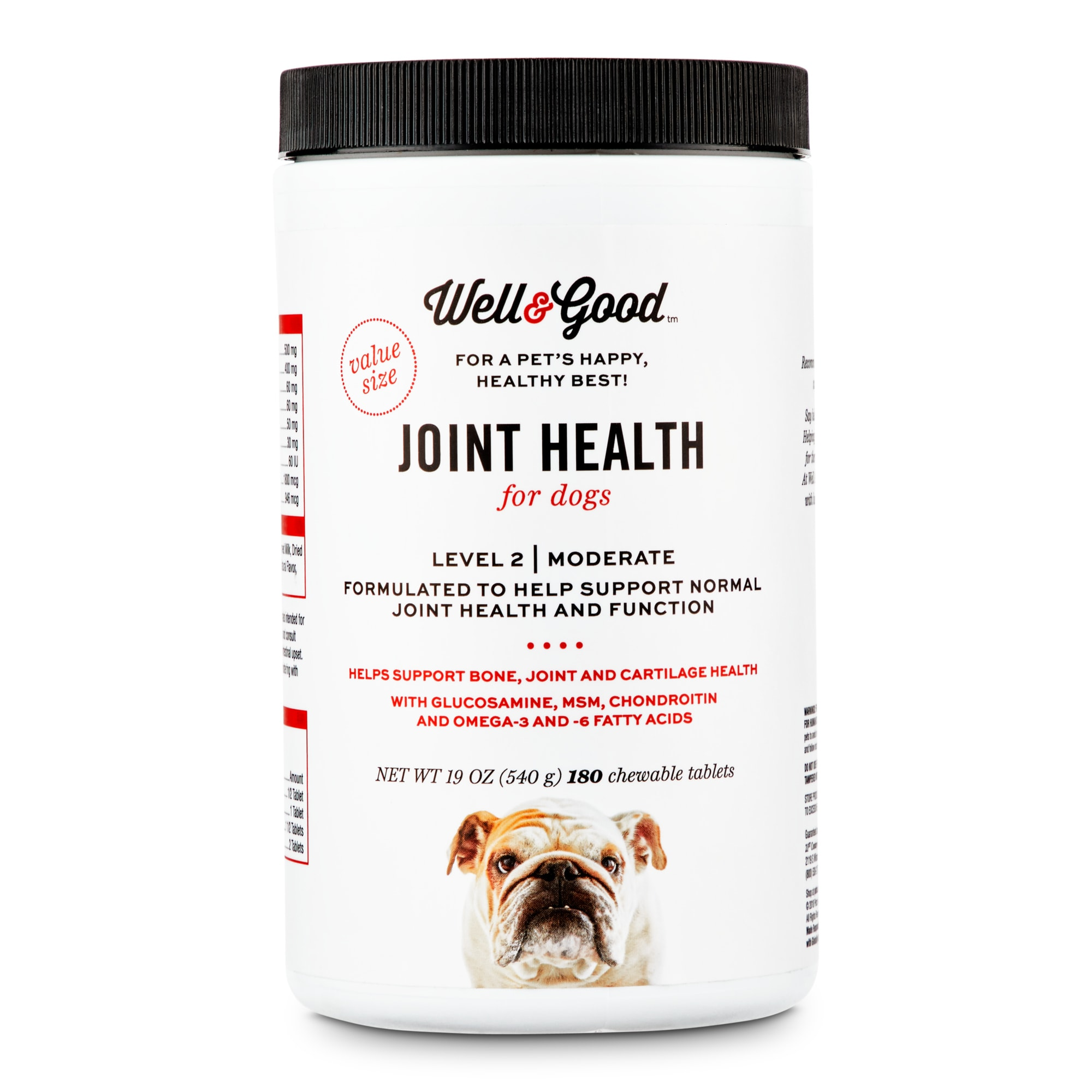 Well & Good Adult Level 2 Dog Joint Health Chewable Tablets, Count of 180, 3.5 IN