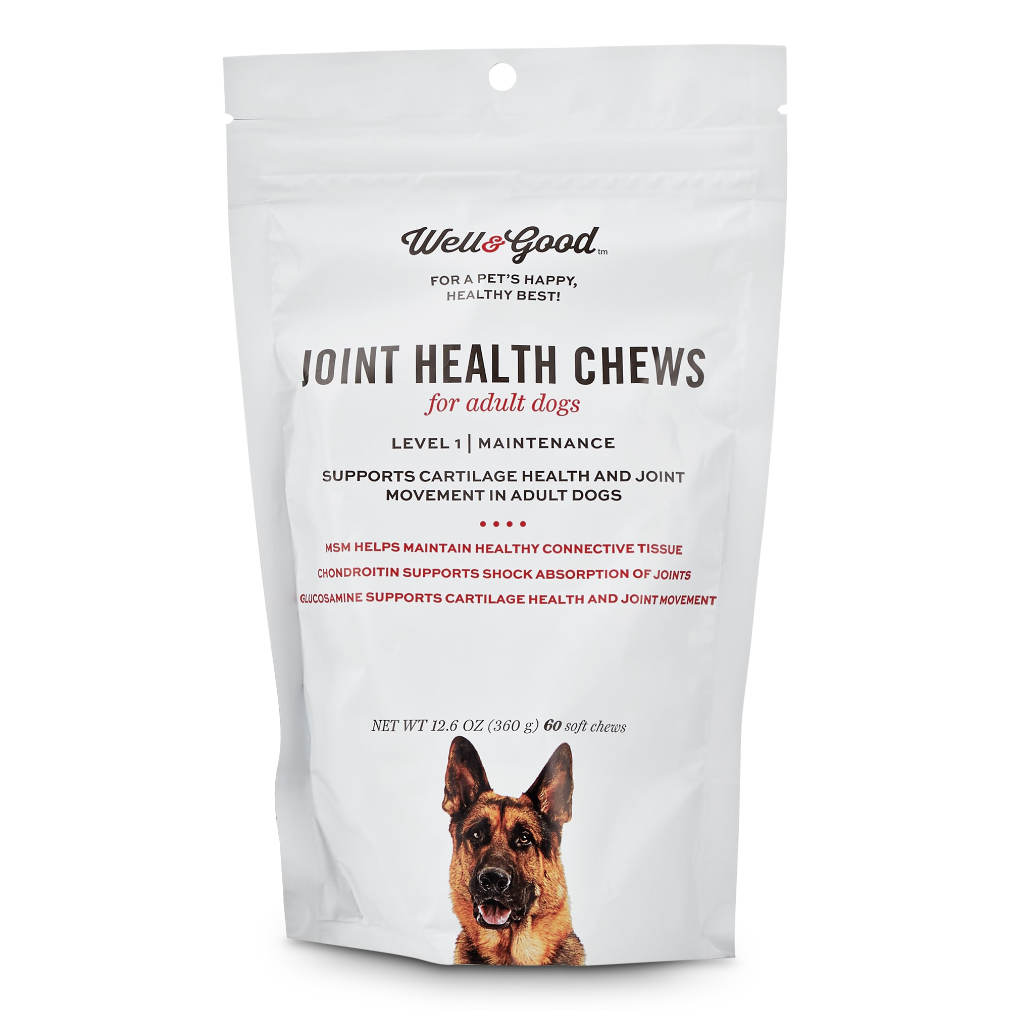 Well & Good Adult Level 1 Dog Joint Health Chews, 12.6 oz., Count of 60, 4.2 IN