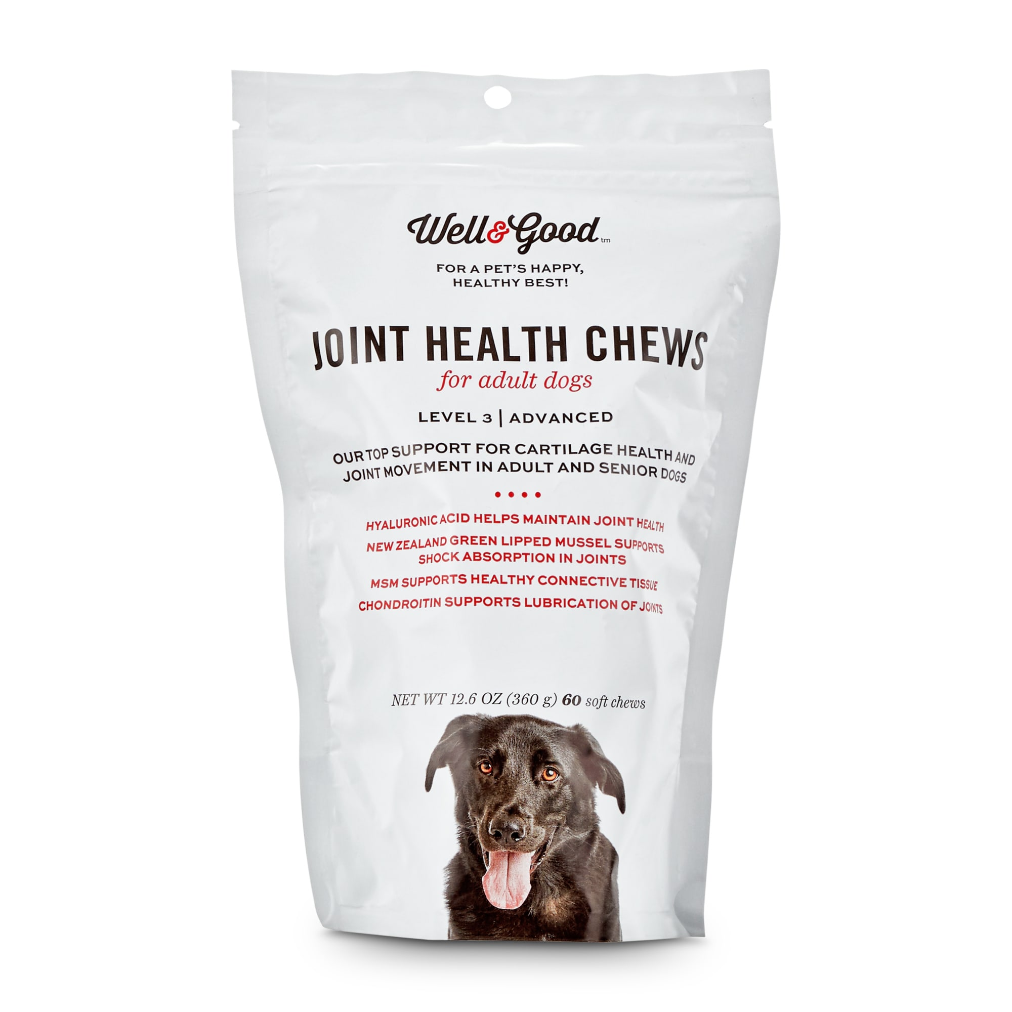 Well & Good Adult Level 3 Dog Joint Health Chewable Tablets, 12.6 oz., Count of 60, 12.6 LBS
