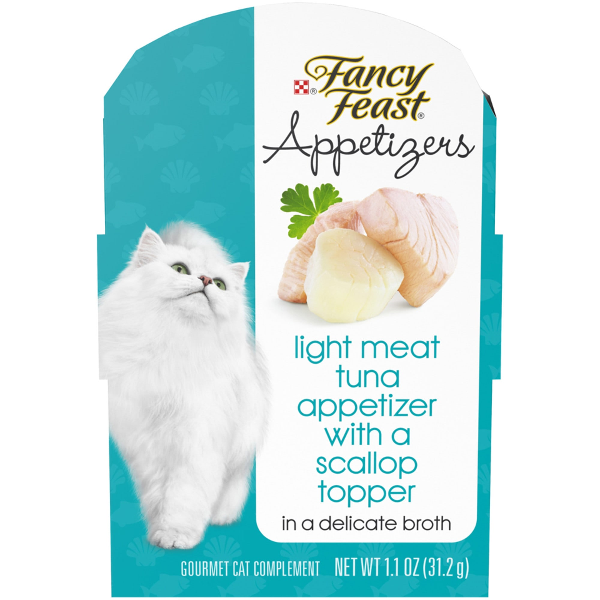 Fancy Feast Appetizers Light Meat Tuna With a Scallop Topper Wet Cat Food, 1.1 oz., Case of 10, 10 X 1.1 OZ