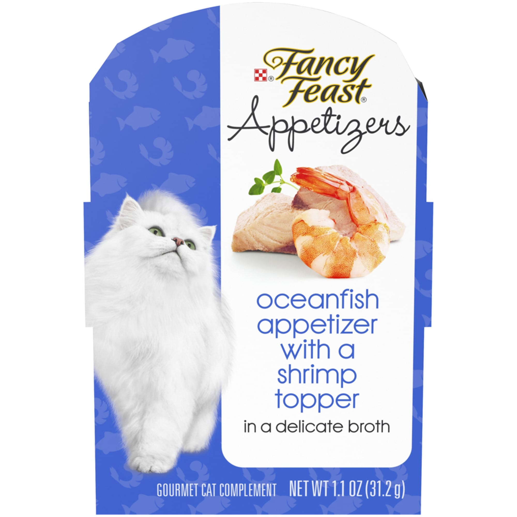 Fancy Feast Appetizers Oceanfish With a Shrimp Topper in Broth Wet Cat Food, 1.1 oz., Case of 10, 10 X 1.1 OZ