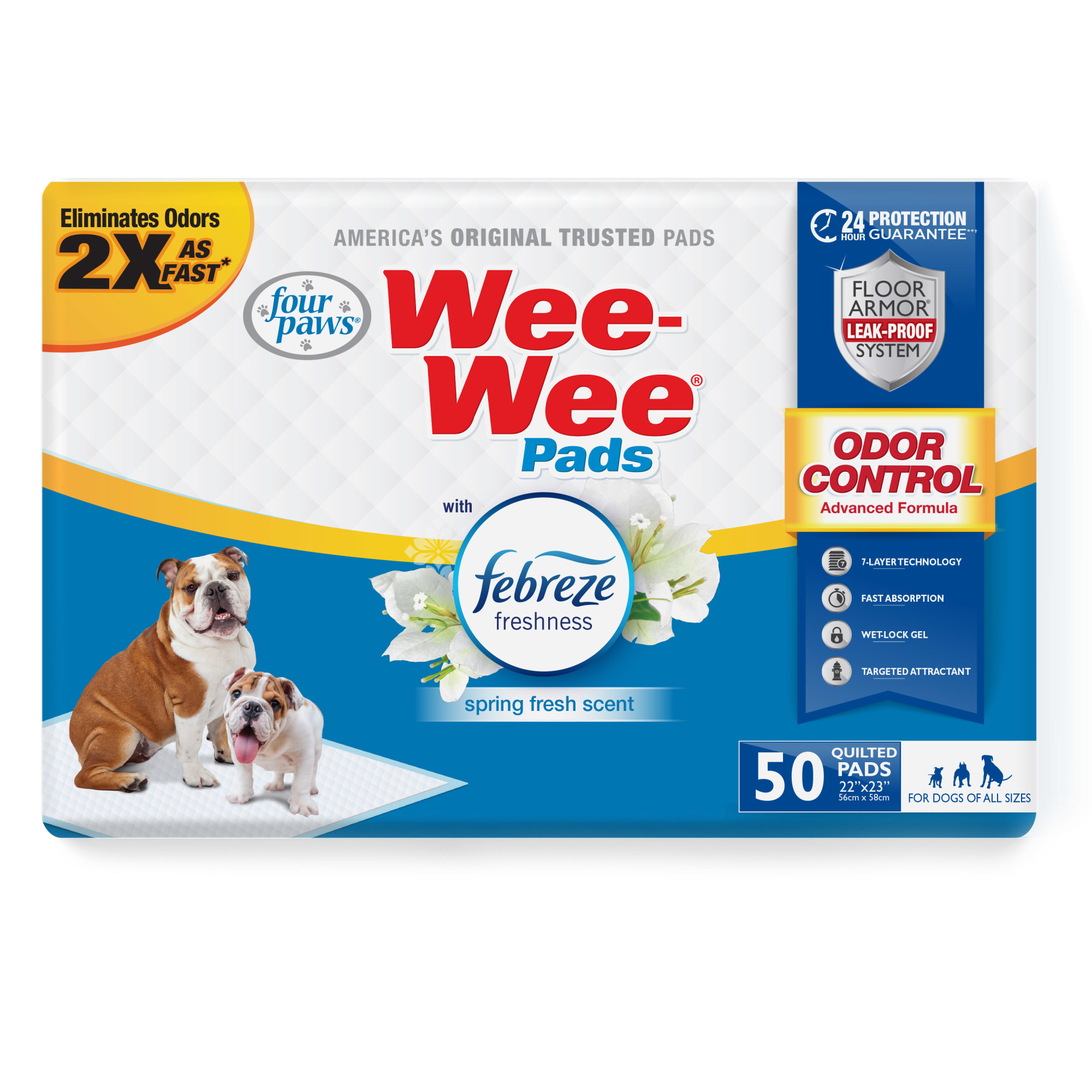 Four Paws Wee-Wee Odor Control with Febreze Freshness Pads for Dogs, Count of 50, 50 CT