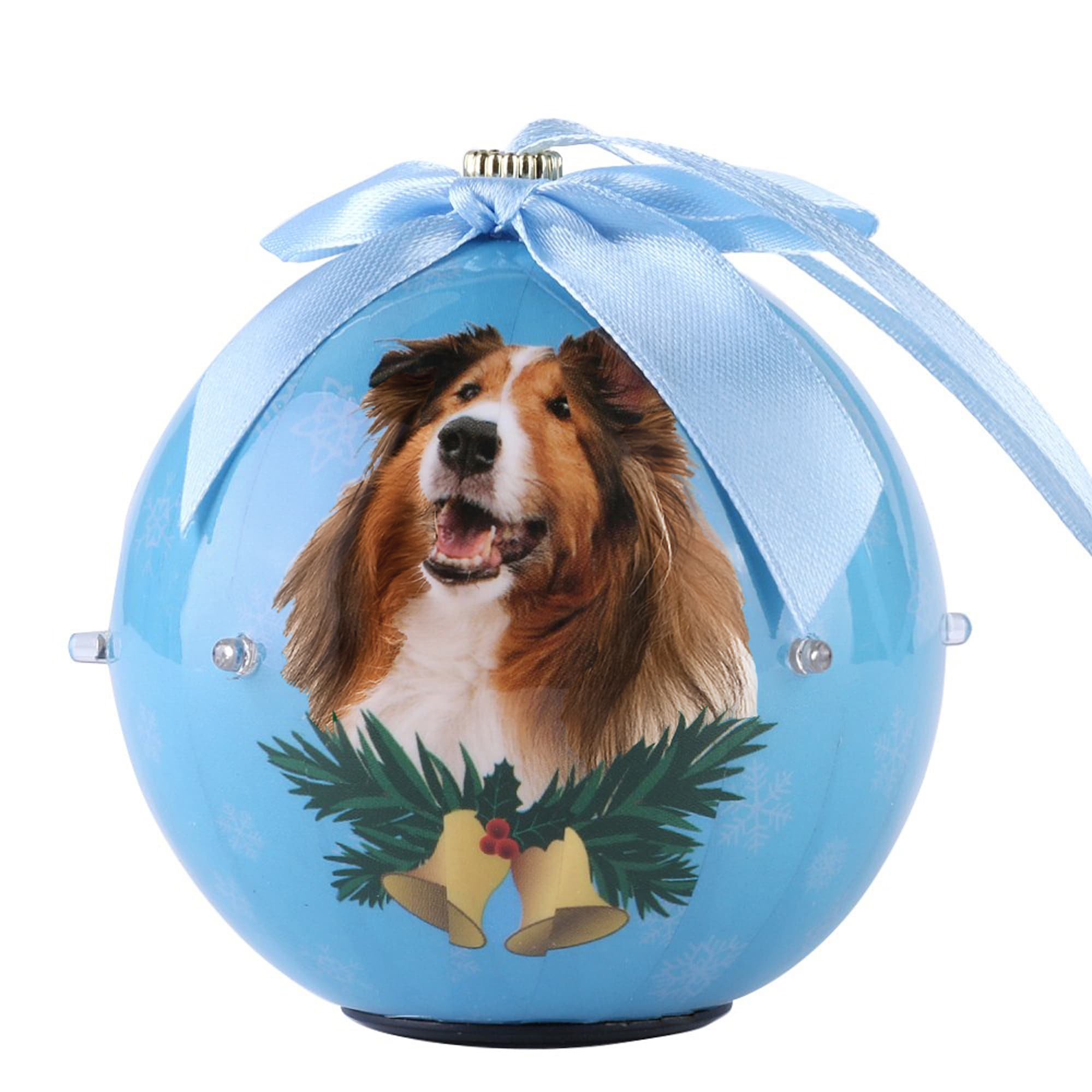 CueCuePet Collie Dog Collection Twinkling Lights Christmas Ball Ornament