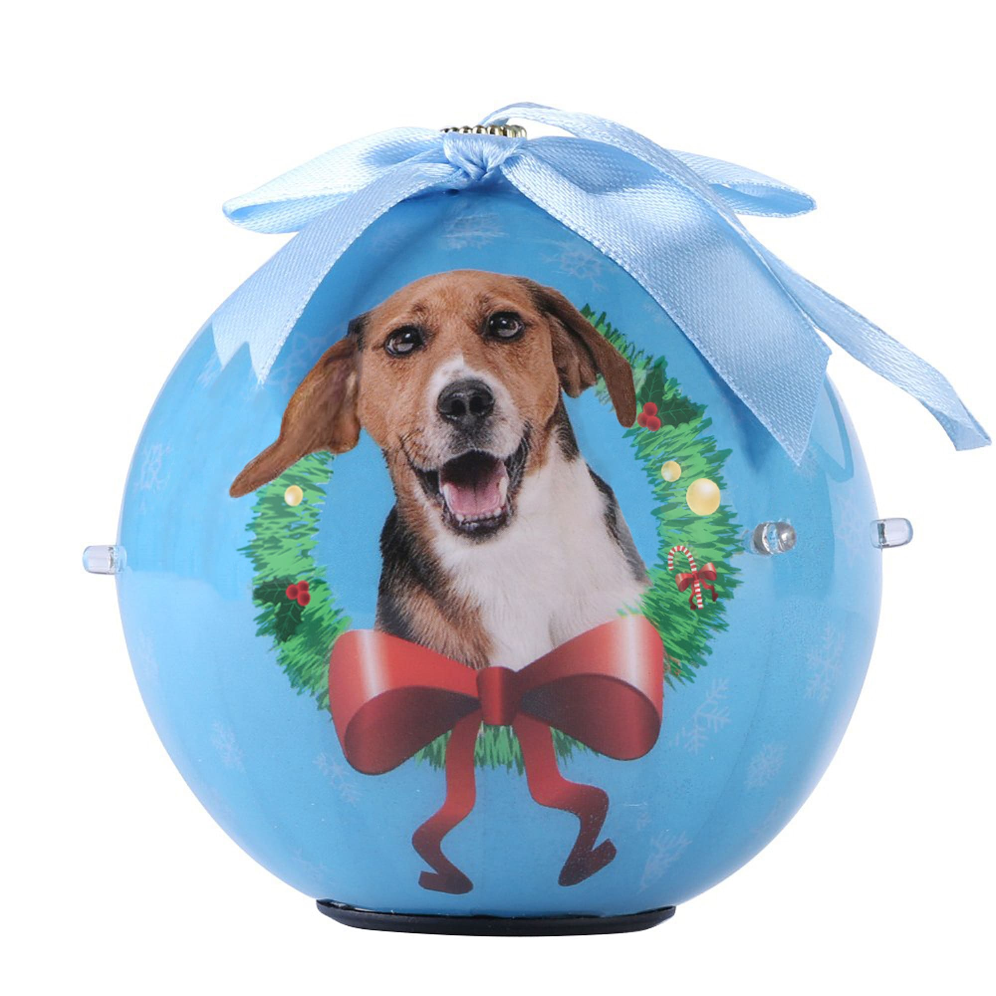 CueCuePet Beagle Dog Collection Twinkling Lights Christmas Ball Ornament, Medium, Blue