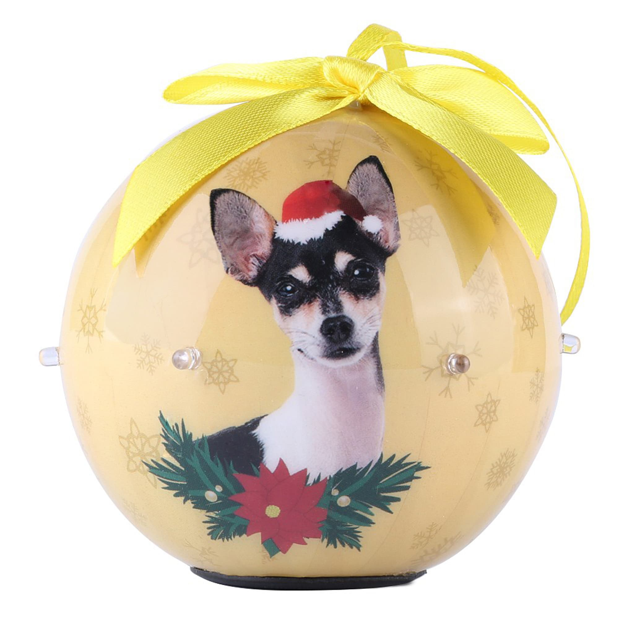 CueCuePet Chihuahua Dog Collection Twinkling Lights Christmas Ball Ornament, Medium, Gold
