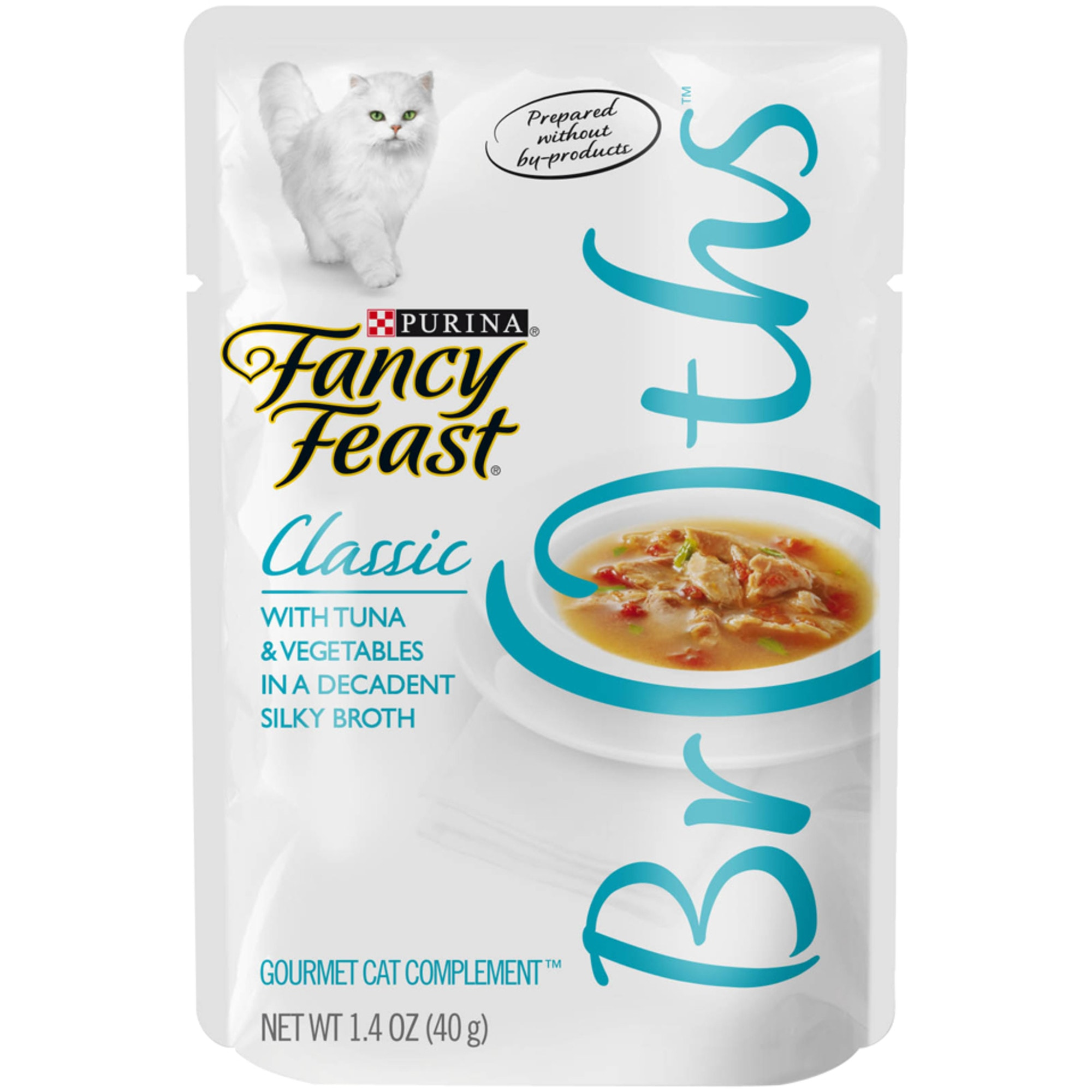 Fancy Feast Broths Classic Tuna & Vegetable Cat Food Complement, 1.4 oz., Case of 16, 16 X 1.4 OZ