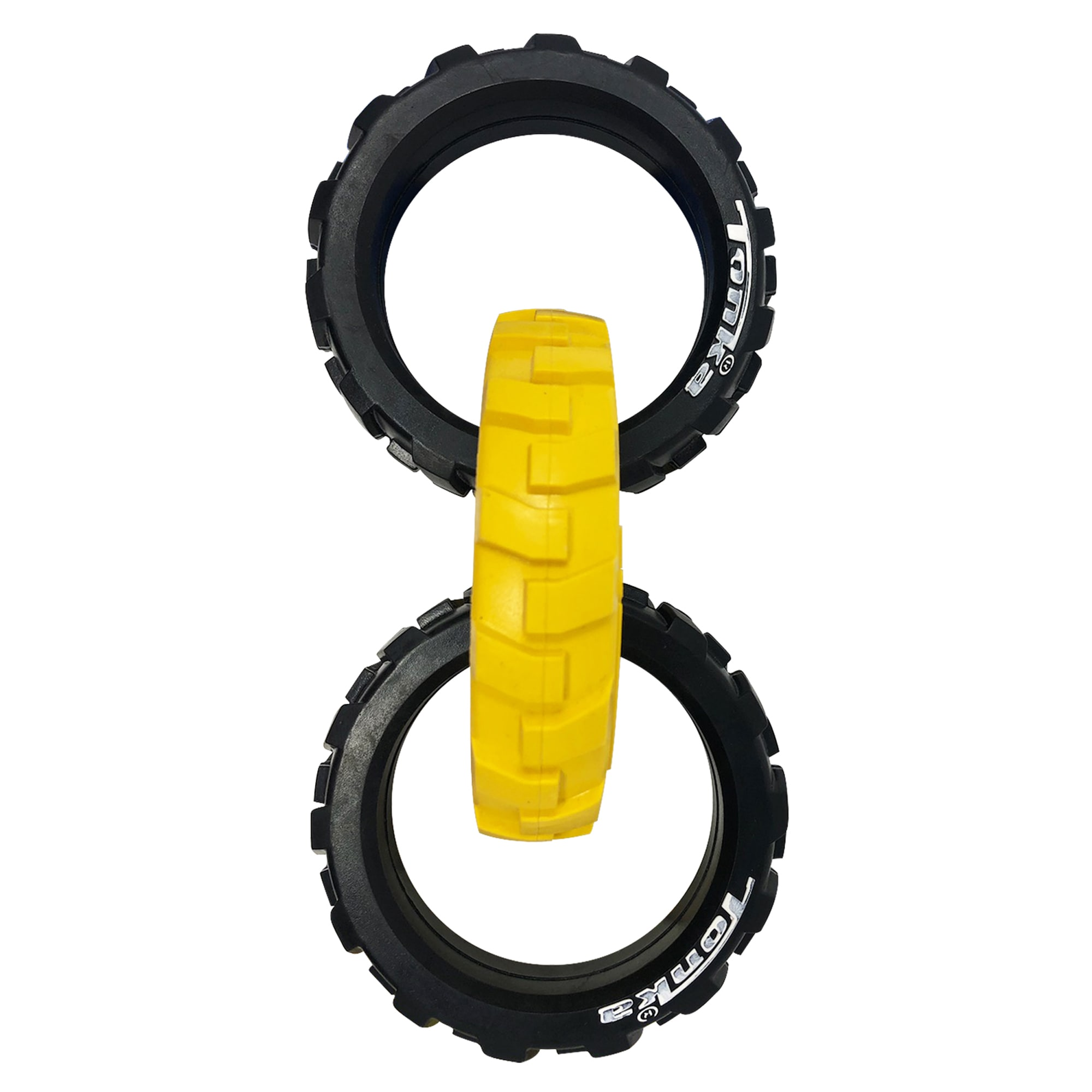 Tonka Flex Tread 3-Ring Tug Dog Toys, Medium, Yellow / Black
