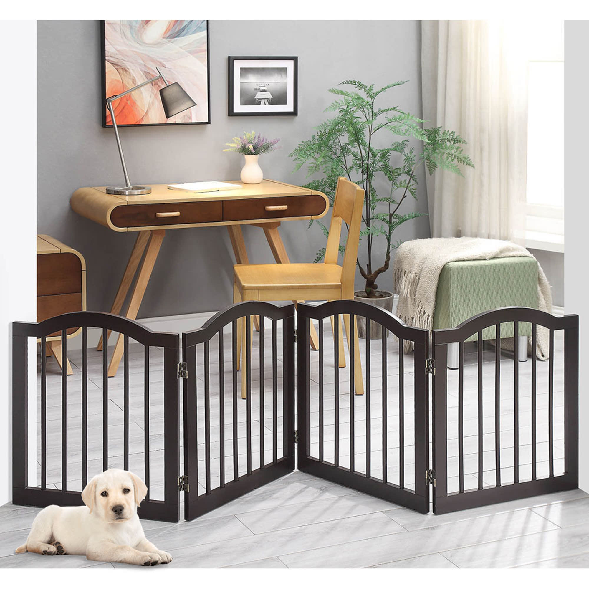 "UniPaws Arched Top 4 Panel Dog Gate Espresso Freestanding, 20""-80"" W X 24"" H, Medium, Brown"