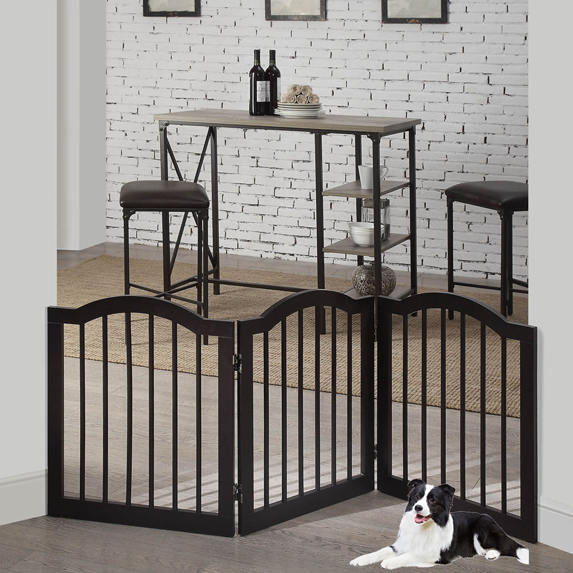 "UniPaws Arched Top 3 Panel Dog Gate Espresso Freestanding, 20""-60"" W X 24"" H, Medium, Brown"
