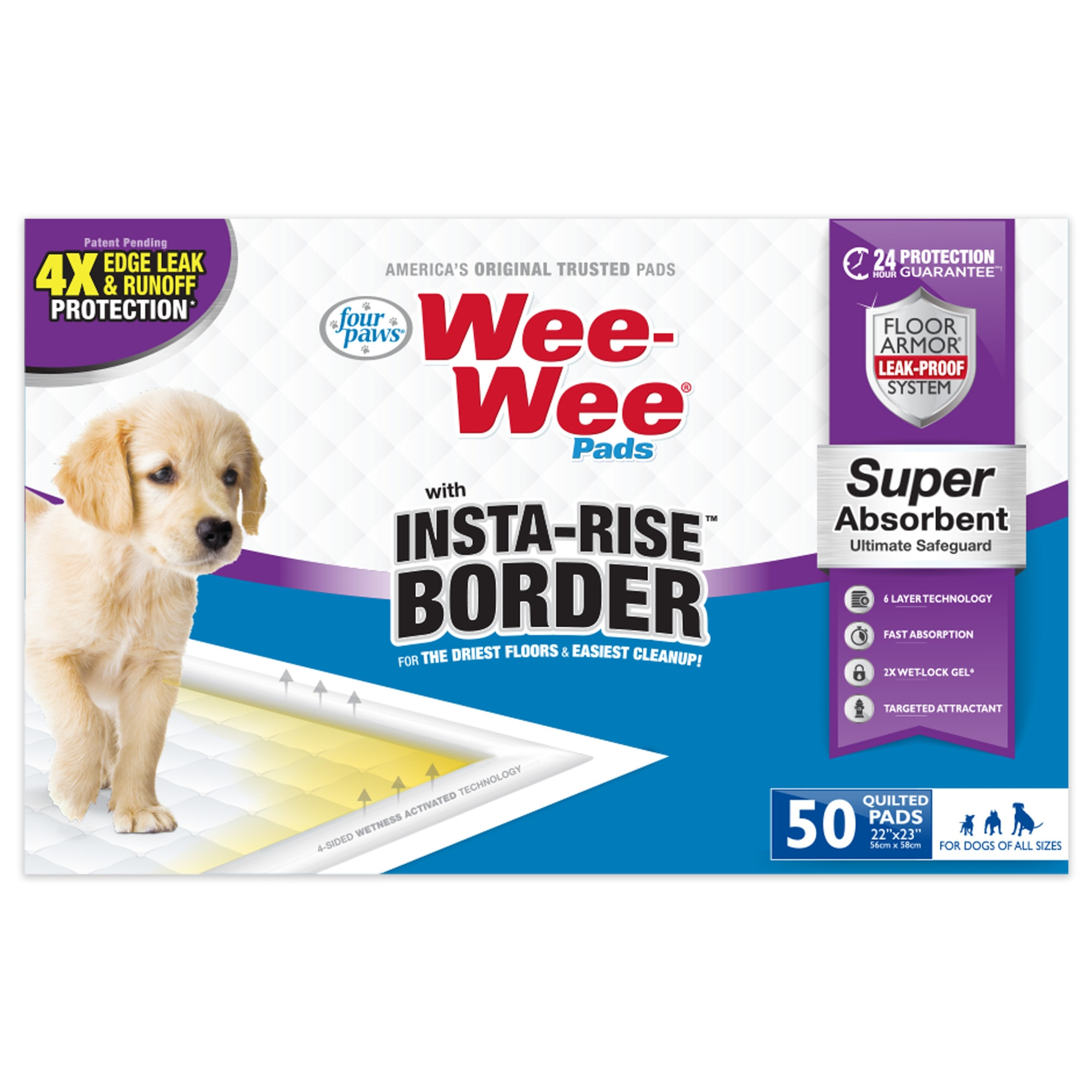 Four Paws Wee Wee Pads with Insta Rise Border for Dog, Count of 50, 50 CT
