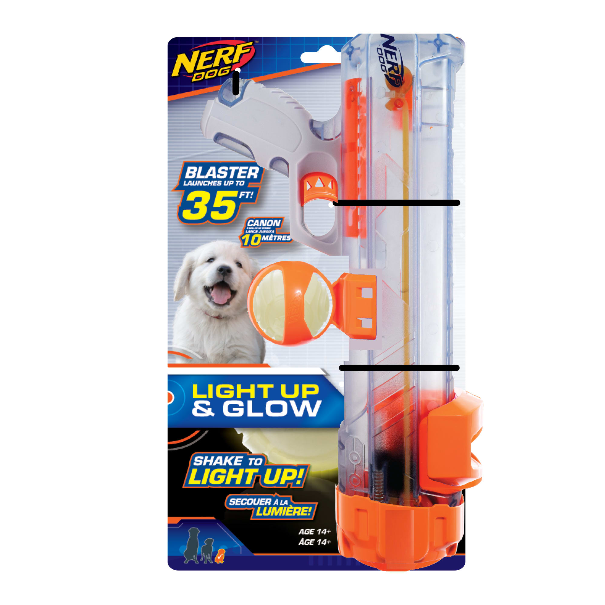 Nerf Clear Blaster and Lightning LED Glow Ball Dog Toy, Large