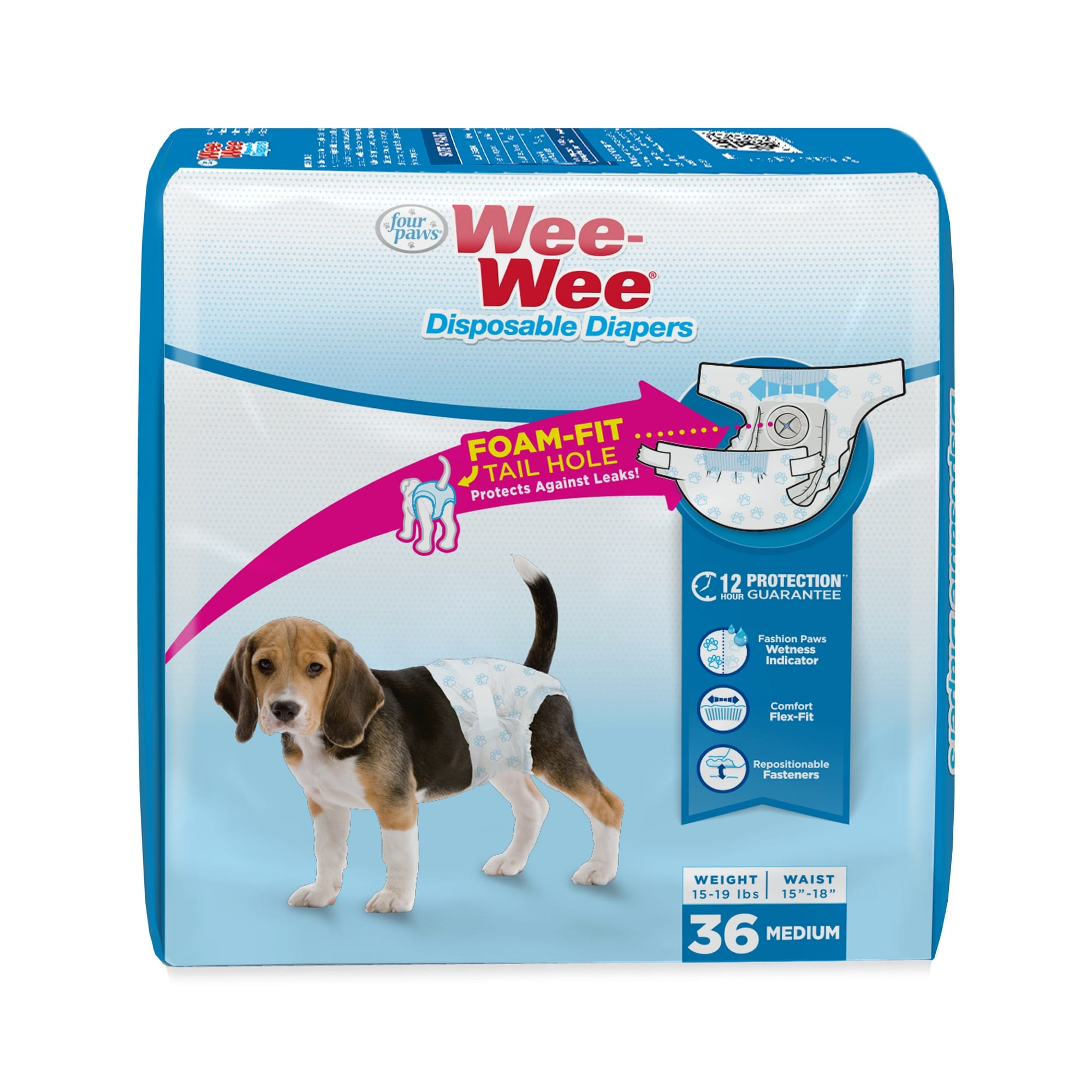 Wee-Wee Disposable Diapers for Dogs, Medium, Count of 36