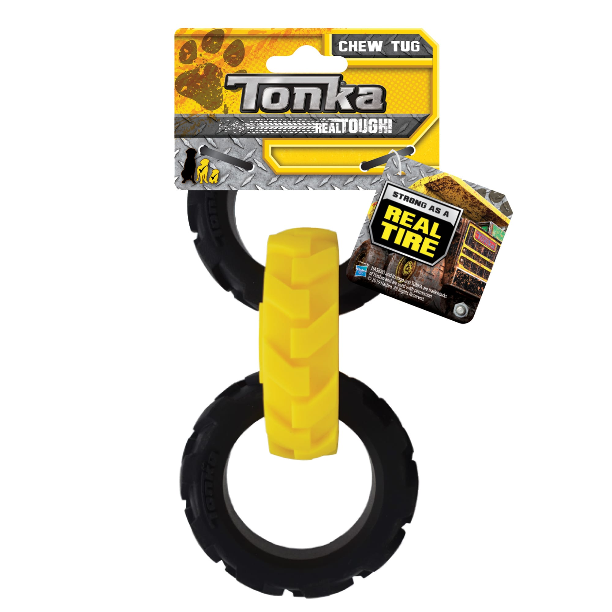Tonka Rubber Yellow/Black Flex Tread 3-Ring Tug Dog Toy, Small