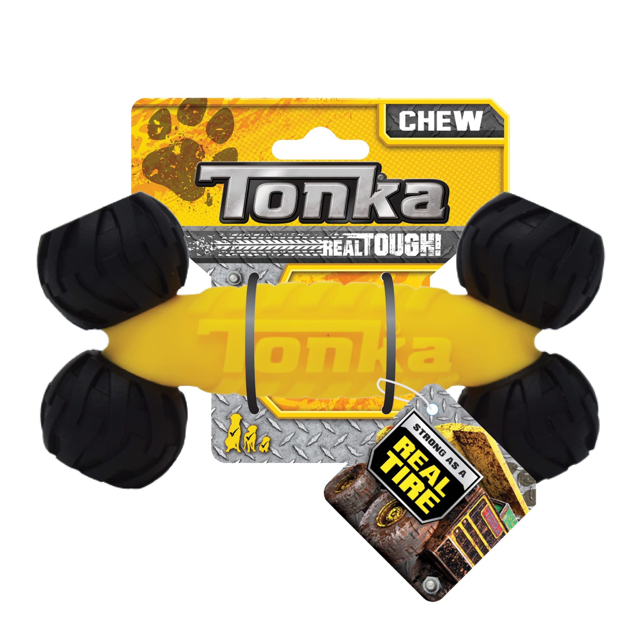 Tonka Rubber/Foam TRP Black/Yellow Bone Dog Toy