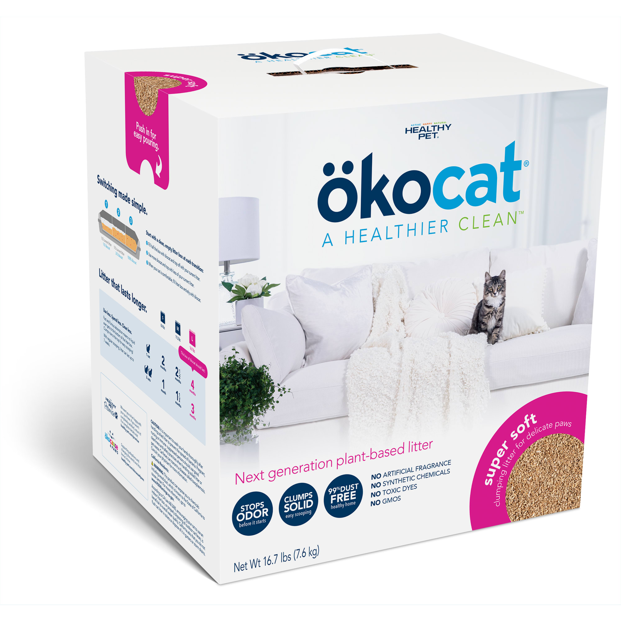 Okocat Super Soft Clumping Wood for Delicate Paws Cat Litter, 16.7 lbs.