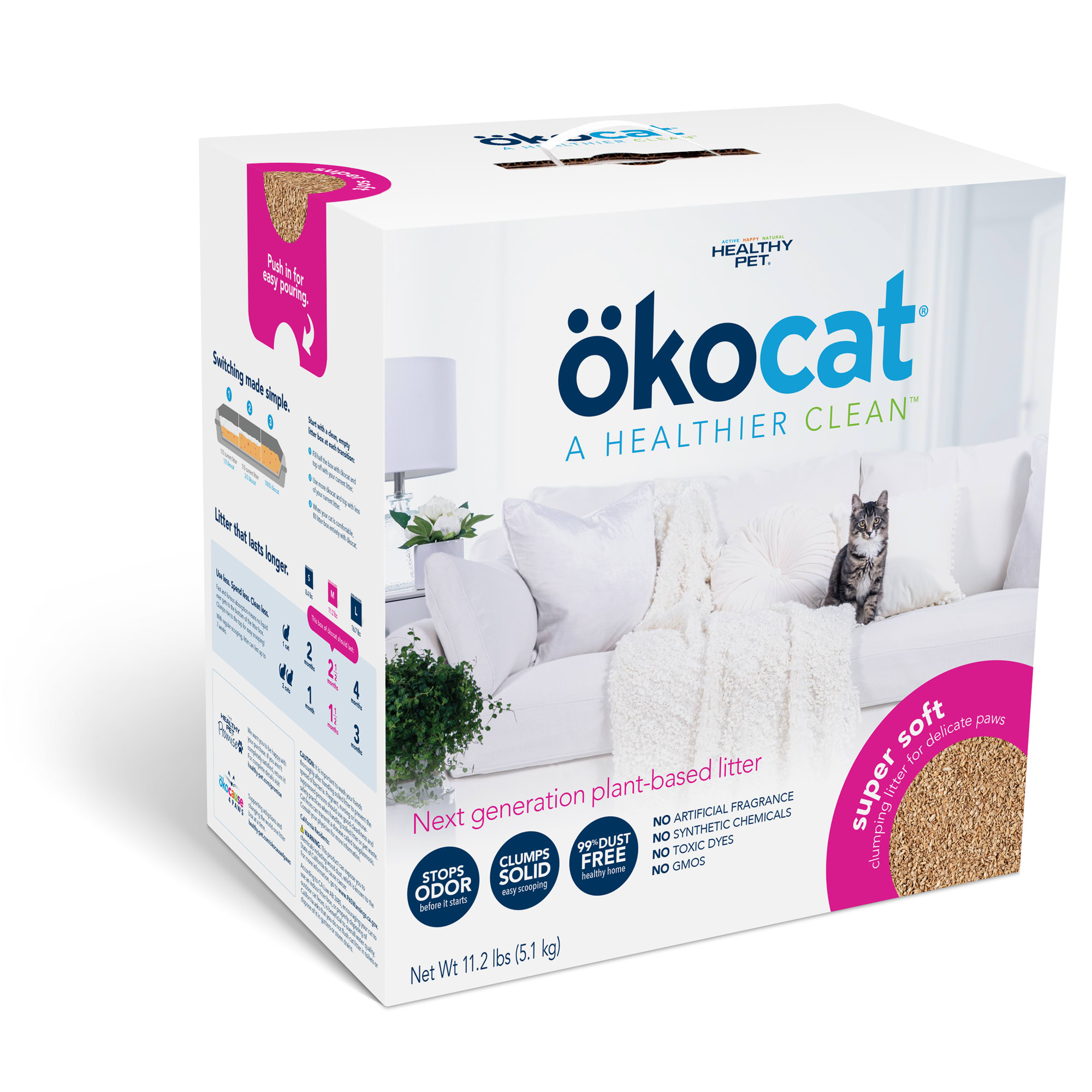 Okocat Super Soft Clumping Wood for Delicate Paws Cat Litter, 11.2 lbs.