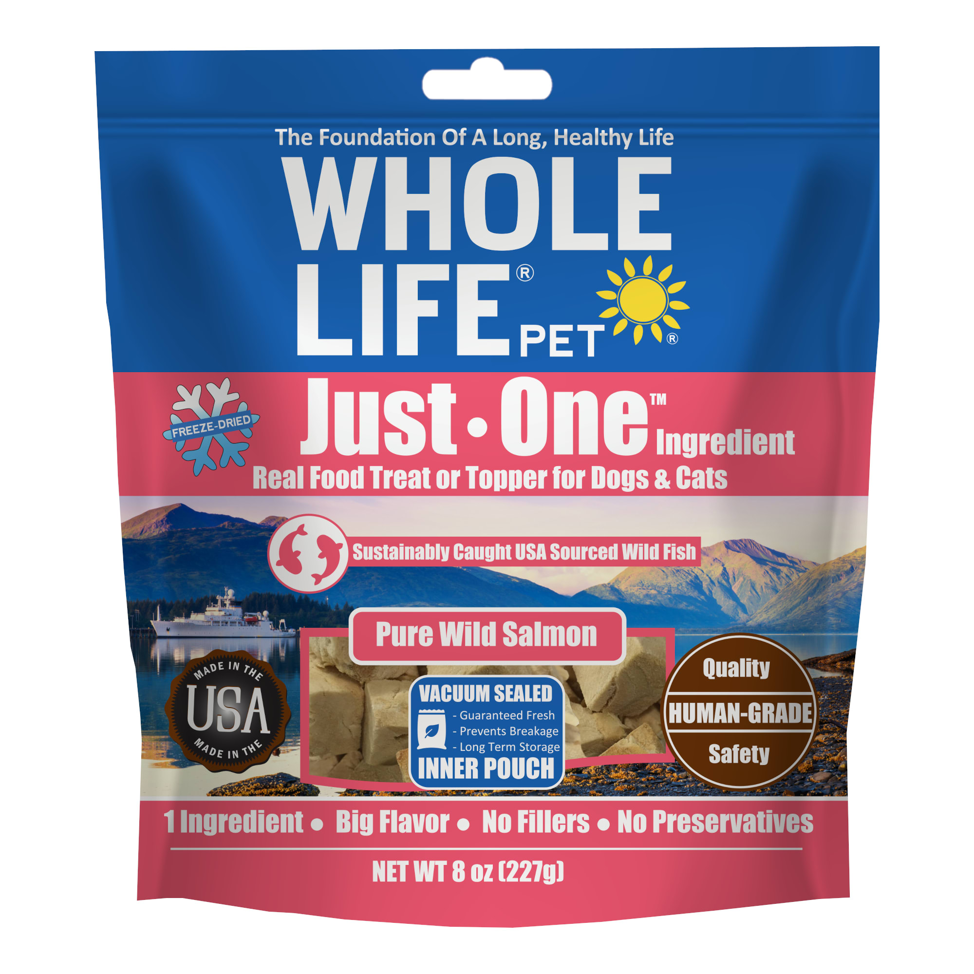 Whole Life Freeze Dried Pure Salmon Fillet Whole Food Dog & Cat Treats, 8 oz.