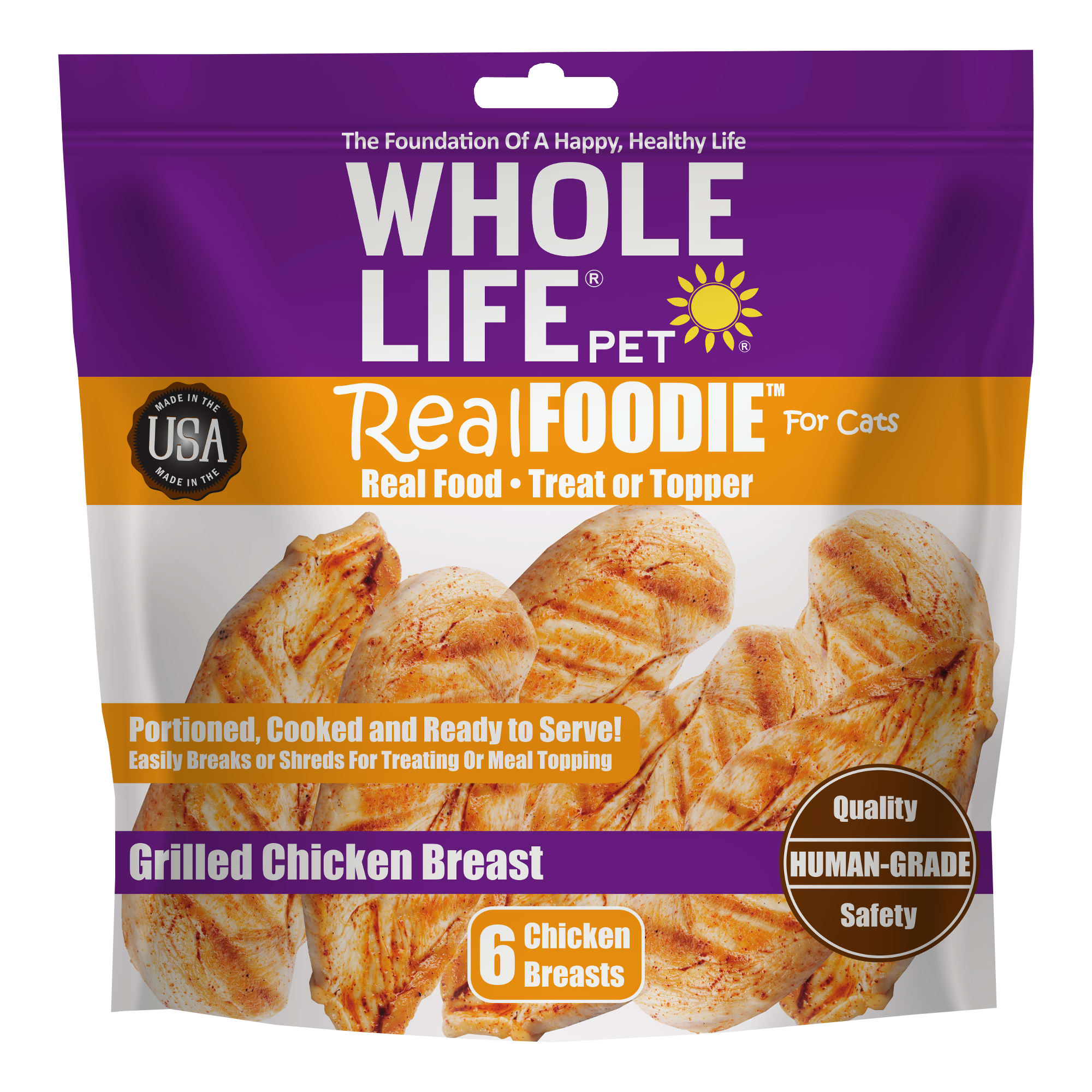 Whole Life Pet Real Foodie Grilled Chicken Breast Cat Treats, Count of 6, 4 IN