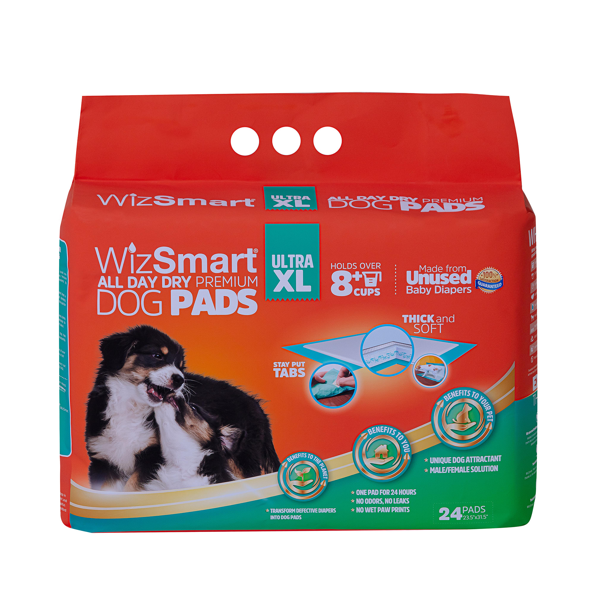 WizSmart All Day Premium X-Large Super Dry Dog Pads, Count of 24, 6.2 LBS