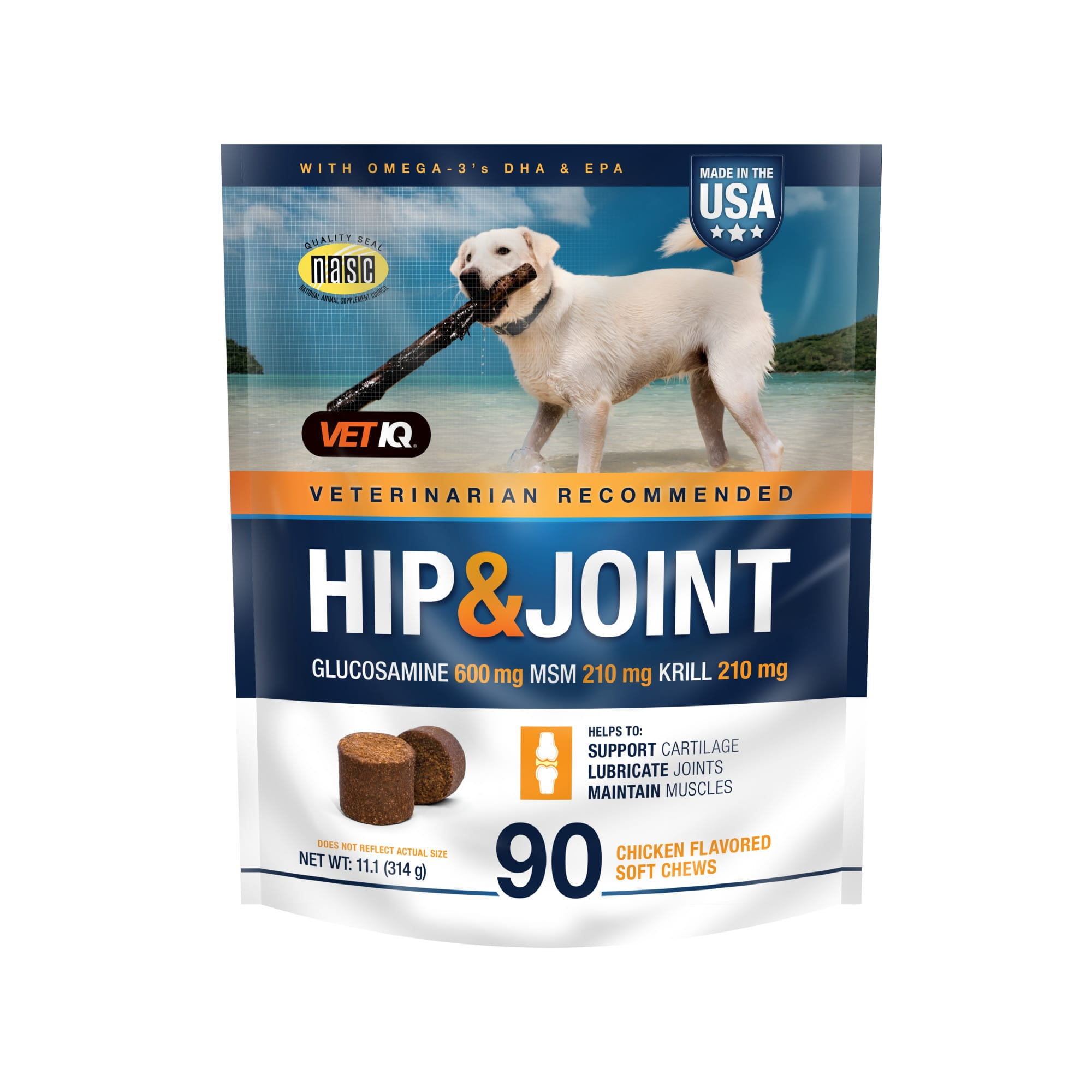 VetIQ Hip & Joint Pork Flavored Dog Soft Chews, 11.1 oz., Count of 90