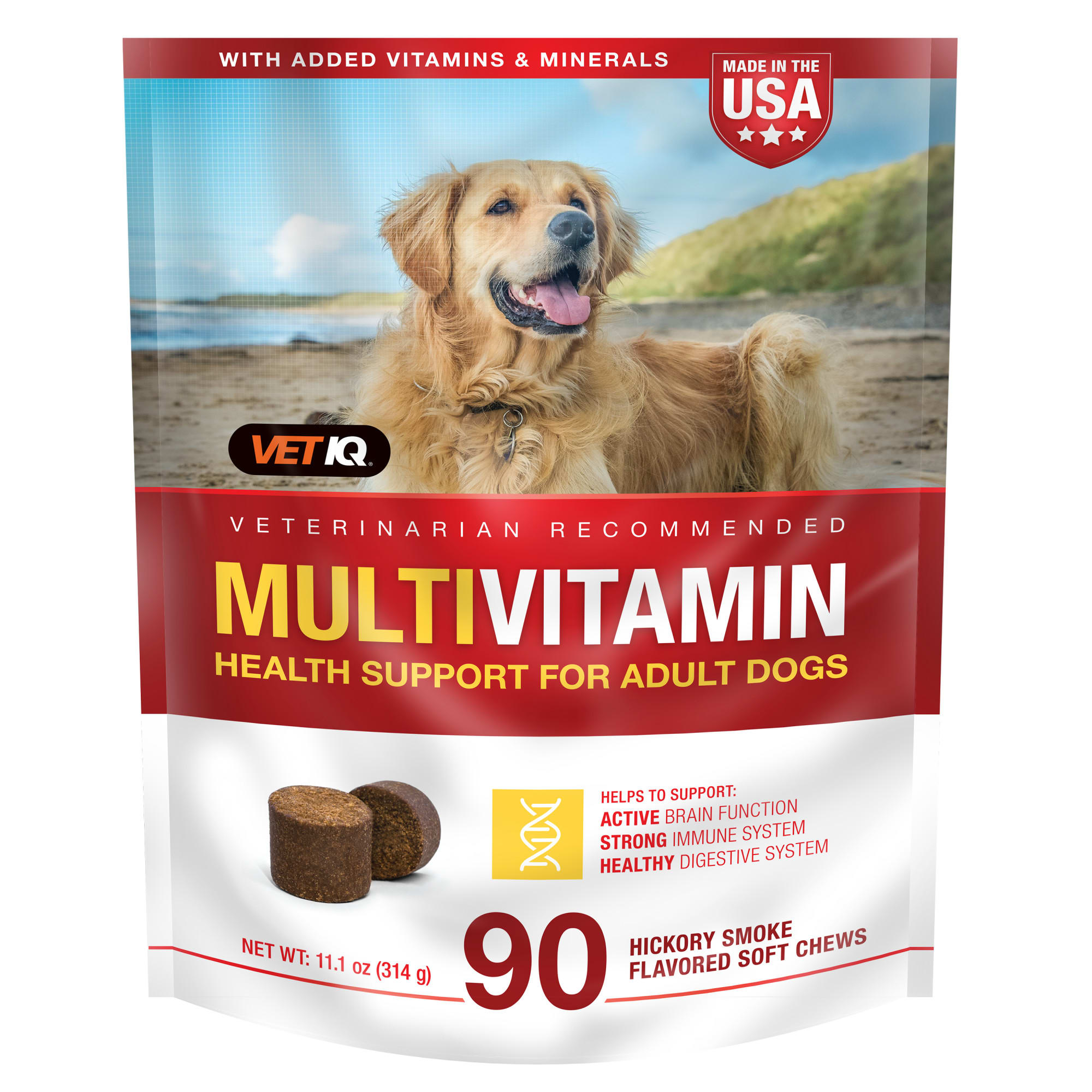 VetIQ Multivitamin Health Support Hickory Smoke Flavored Dog Soft Chews, 11.1 oz., Count of 90