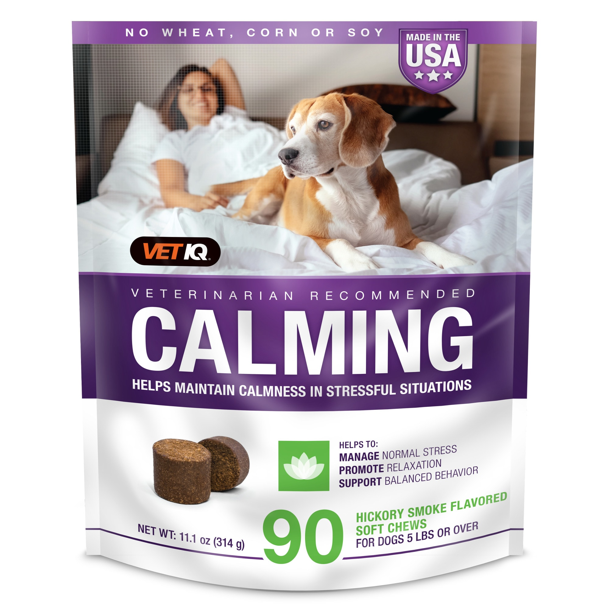 VetIQ Calming Hickory Smoke Flavored Dog Soft Chews, 11.1 oz., Count of 90