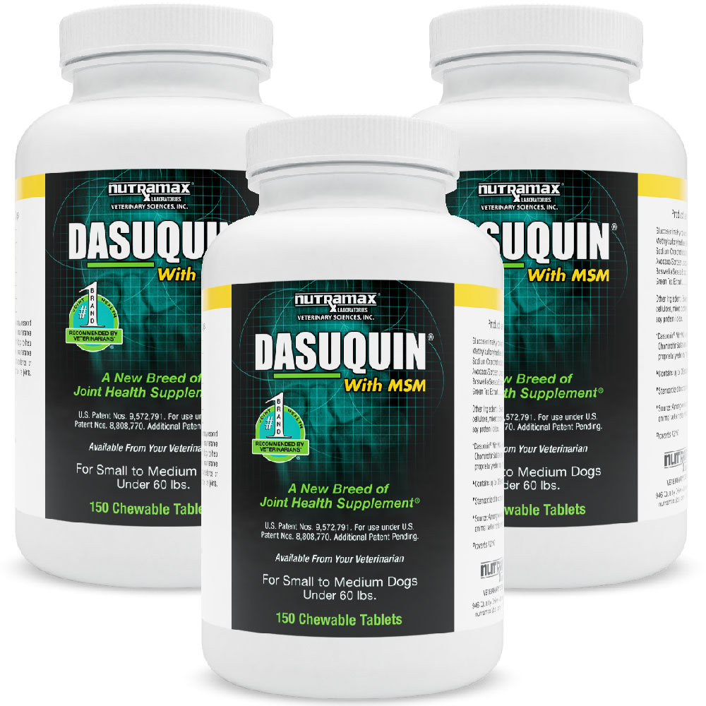 3-PACK Dasuquin for Small/Medium Dogs under 60 lbs. with MSM (450 Chewable Tabs)
