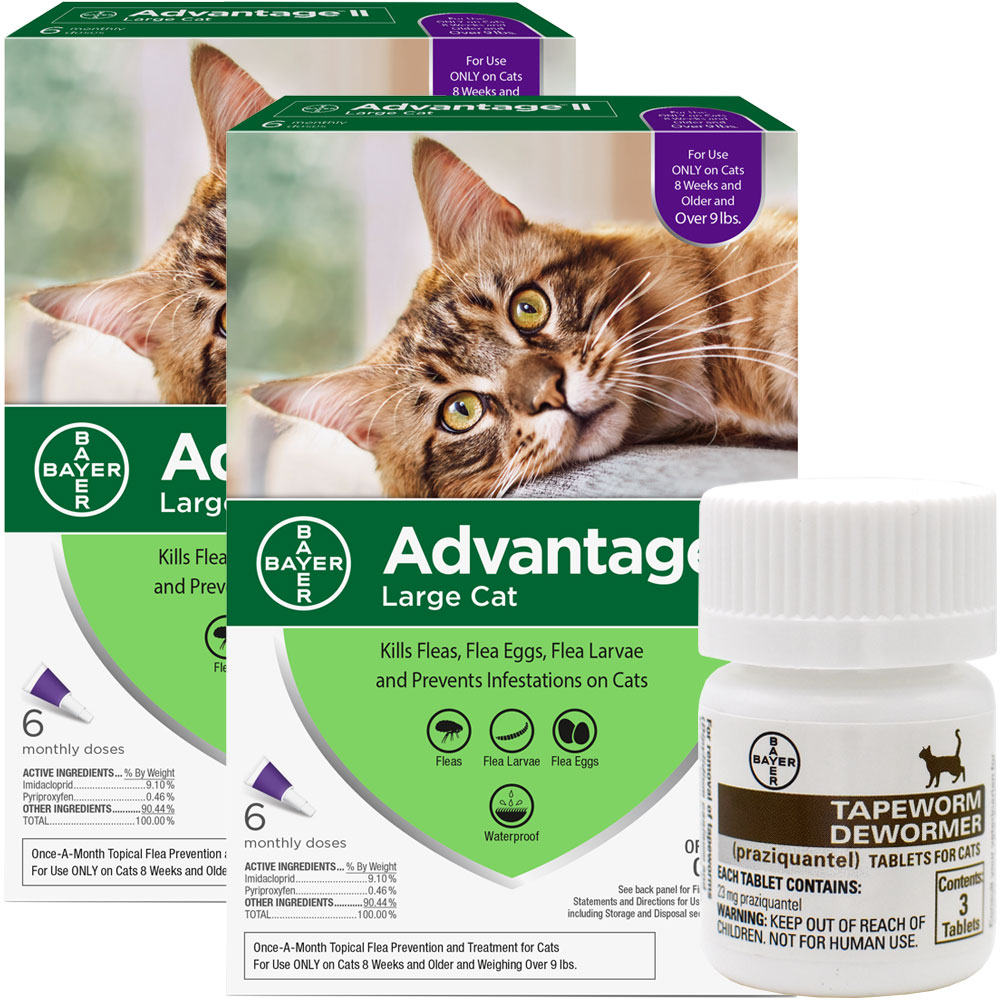 12 MONTH Advantage II Flea Control for Large Cats (over 9 lbs) + Tapeworm Dewormer for Cats (3 Tablets)
