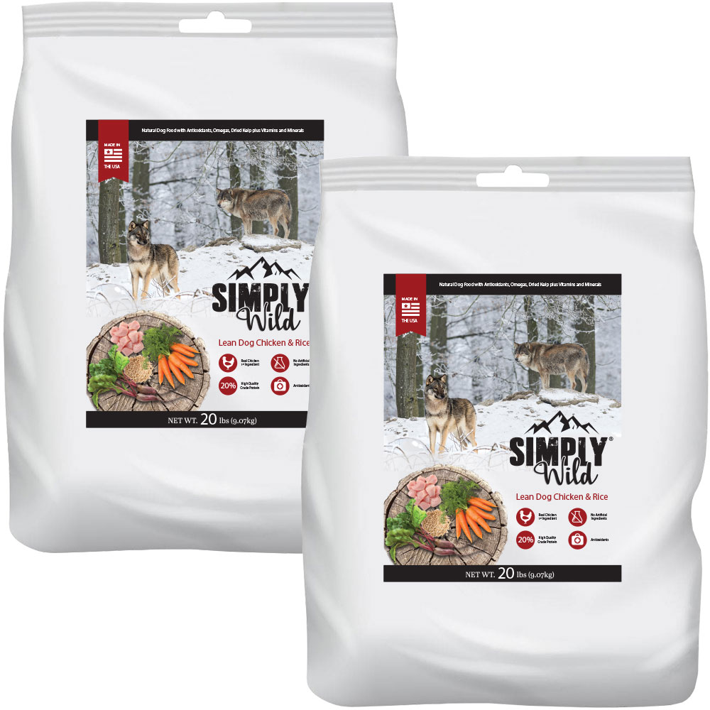 Simply Wild Lean Dog Chicken & Brown Rice Dog Food 2-Pack (40 lbs)