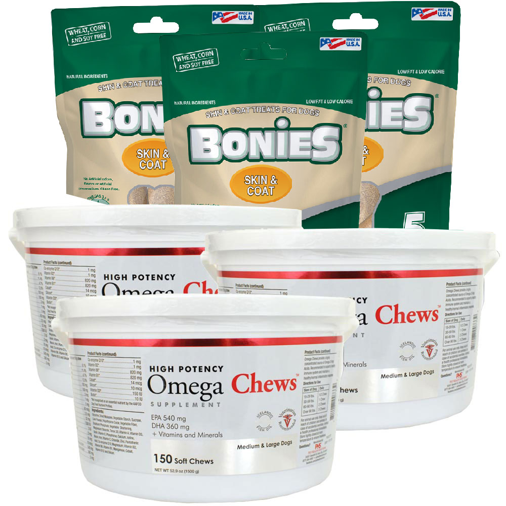 3-PACK Omega Chews for Medium & Large Dogs (450 Soft Chews) + FREE BONIES Skin & Coat Health Multi-Pack LARGE (15 Bones)