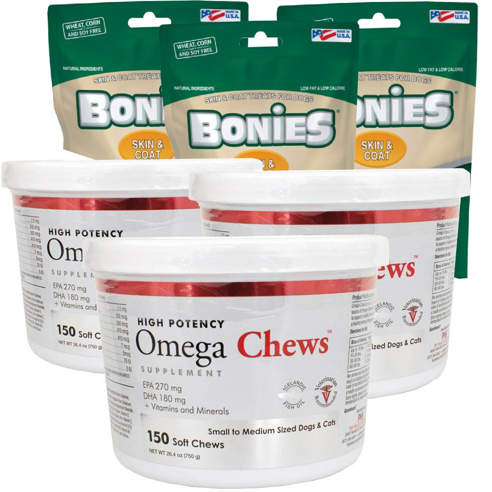 3-PACK Omega Chews for Small to Medium Sized Dogs & Cats (450 Soft Chews) + FREE BONIES Skin & Coat Health Multi-Pack MINI (60 Bones)