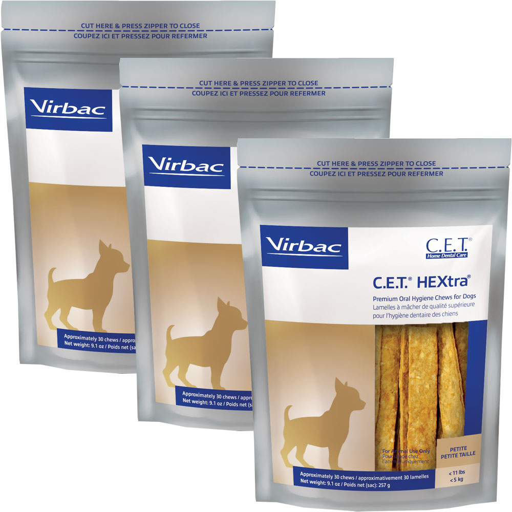 3-PACK CET Hextra Premium Enzymatic for Petite Dogs (90 Chews)