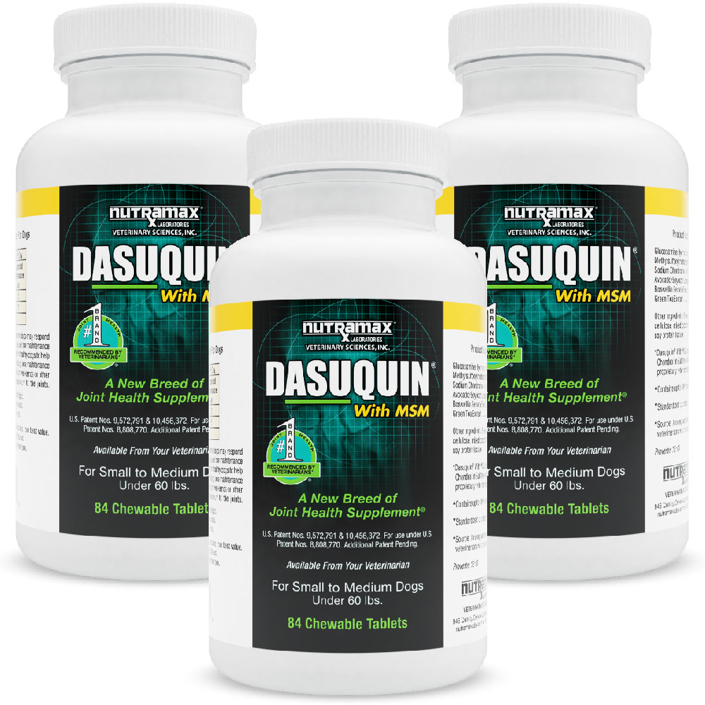 3-PACK Dasuquin for Small/Medium Dogs under 60 lbs. with MSM (252 Chewable Tabs)