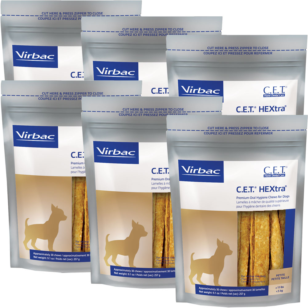 6-PACK CET Hextra Premium Enzymatic for Petite Dogs (180 Chews)
