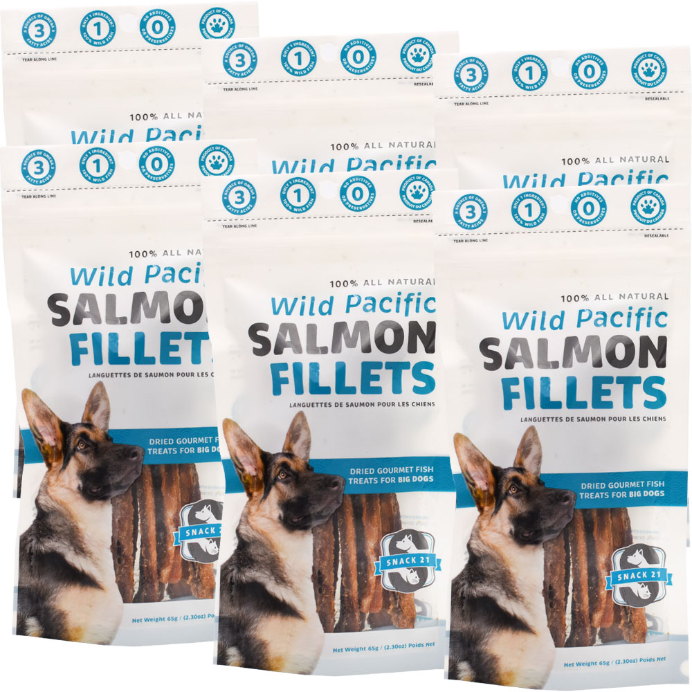 Snack 21 Wild Pacific Salmon Fillets for Big Dogs 6-PACK (390 g)