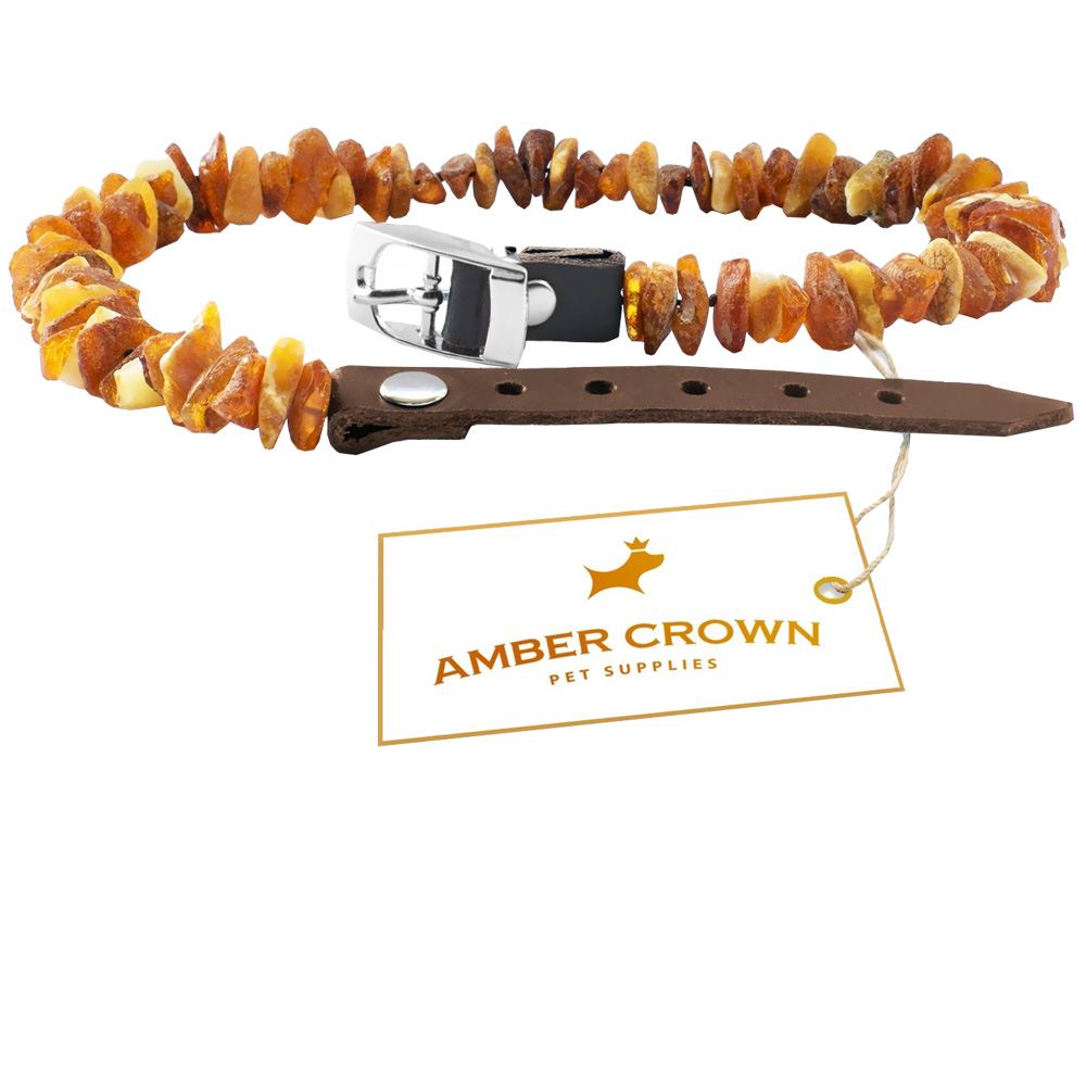 "Amber Crown Flea & Tick Collar with Adjustable Leather Straps (12""-14"")"